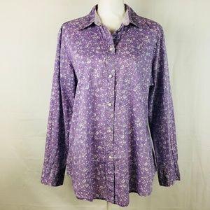 Gap Women's Shirt Long Sleeve Purple Floral Sz 18